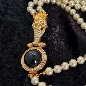 Vintage Crystal Horse head and Pearl necklace